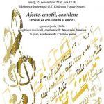 """Astăzi, la Biblioteca Județeană """"G.T. Kirileanu""""  Recitalul de canto """"Afecte, emoții, cantilene"""""""